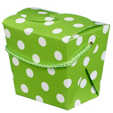 Lime Green and White Spot Noodle Boxes - 4 Pack