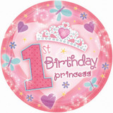 1st Birthday Princess Large Plates (22.9cms) - 18 Pack