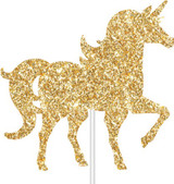 Unicorn Party Gold Glitter Cake Topper