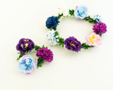 Make Your Own Flower Crown and Bracelet Set - Blue