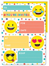 Smiley Face Emoji Invitations and Envelopes - 16 Pack
