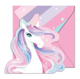 Unicorn Party Shape Cut Invitations with Envelopes - 8 Pack