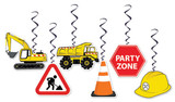 Construction Party Hanging Decorations - 6 Pack