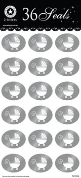 Silver Baby Pram Sticker Seals
