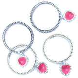Bracelets with Heart Charm - 4 Pack