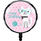 Purrfect Kitty Cat Party 45cm Birthday Foil Balloon