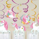 Magical Unicorn Hanging Swirl Decorations - 12 Pack