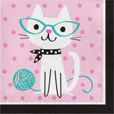 Purrfect Kitty Cat Party Luncheon Napkins - Pack of 16