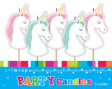 Unicorn Party Pick Candles - 5 Pack