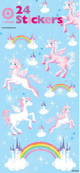 Unicorn and Castles Sheet Stickers - 1 Sheet x 24 Stickers