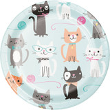 Purrfect Kitty Cat Round Lunch Plates - Pack of 8