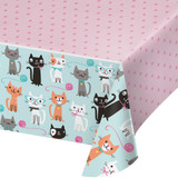 Purrfect Kitty Cat Plastic Tablecover 137cm x 259cm