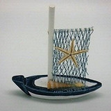 Blue and White Sail Boat with Shells - 8 x 9.5cm