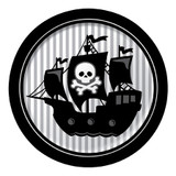 Pirate Parrty Silver Stripe 22.2cm Dinner Plates - 8 Pack
