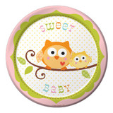 Happy Tree Owl Baby Girl Luncheon Plates - 8 Pack