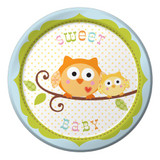 Happy Tree Owl Baby Boy Luncheon Plates - 8 Pack