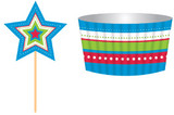 Blue Star Baking Cups and Toppers - 12 Pack