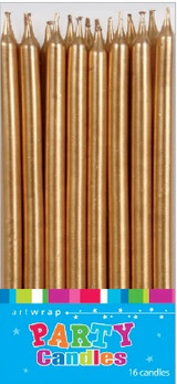 Gold Tapered Cake Candles - 16 Pack