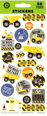 Construction Sticker Sheet- 50 Stickers