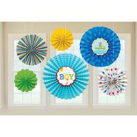 Ahoy Baby Boy Paper Fan Decorations - 6 Fans