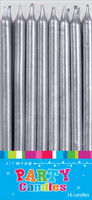 Silver Tapered Cake Candles - 16 Pack