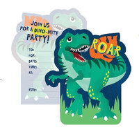 Dinosaur Party Invitations and Envelopes - 8 Pack