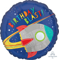 Blast off Birthday Blast Foil Balloon - 43cm