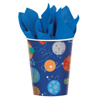 Blast Off Birthday 266 ml Paper Cups - 8 Pack