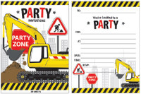 Construction Party Zone Padded Invitations 20 Sheets