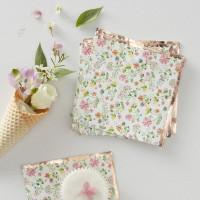 Rose Gold Foiled Floral Beverage Napkins - 16 Pack
