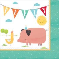Barnyard Farm Animal Birthday Lunch Napkins - 16 Pack