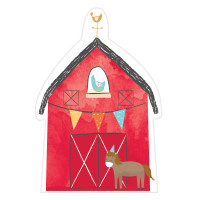 Barnyard Farm Animal Birthday  Postcard Invitations with Envelopes  - 8 Pack