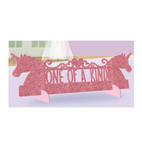 """Magical Unicorn """"One of a Kind"""" Pink Glitter Table Decoration"""