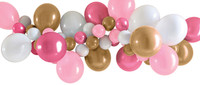 Pink, Gold and White Balloon Garland - 40 Balloons and Tape
