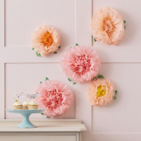 Let's Partea Tissue Paper Flower Pom Poms - 5 Pack