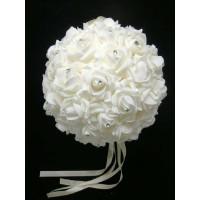 White Diamante Rose Flower Wedding Pomander Kissing  Ball - 25cm