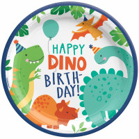 Dino-Mite Dinosaur Happy Birthday Dinner Plate - 8 Pack