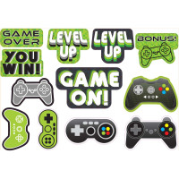 Level Up Gamer Cutouts Decorations  - 12 Pack