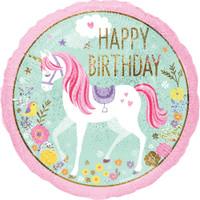 Magical Unicorn 45cm Happy Birthday Foil Balloon