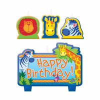 Jungle Animals Happy Birthday Candles - Pack of 4