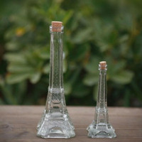 Eiffel Tower Glass Bottle with Cork 15cm