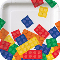 Lego Inspired Block Party 17.4cm Luncheon Plates - 8 Pack