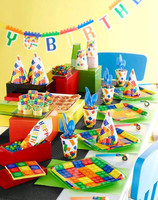 Lego Inspired Block Party Jointed Happy Birthday Banner - 2.82 M