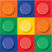 Lego Inspired Block Party Beverage Napkins - 16 Pack