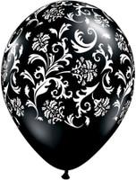28cm Black Damask  Printed Balloons - 24 Pack