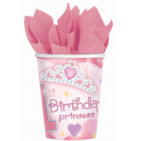 1st Birthday Princess Cups - Pack of 18