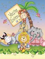 Baby Animal Bazooples Invitations with envelopes - 8 Pack