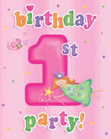 Fun at One 1st Birthday Girl Invitations - Pack of 8