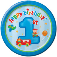 Fun at One 1st Birthday Boy 17.1cm Small Plates - Pack of 8