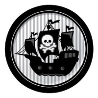 Pirate Parrty Silver Stripe 22.2cm Dinner Plates - 8 Pack